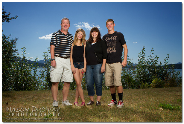 Family photo with Lake Pend Orielle in the background