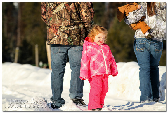 Family Photo in the snow by Newport, Coeur d'Alene, Sandpoint, Priest River photographer Jason Duchow