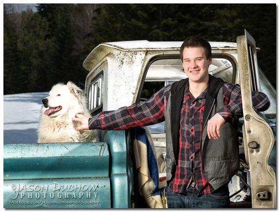 senior portrait with a classic truck
