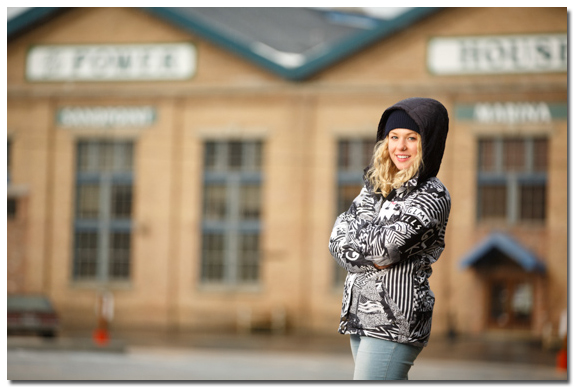 Senior Portrait by the power house in Sandpoint