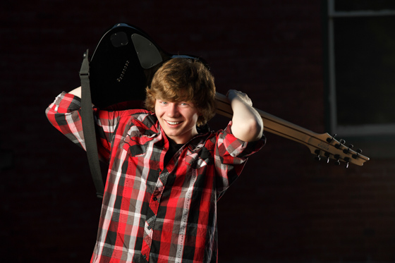 Senior Photo with electric guitar