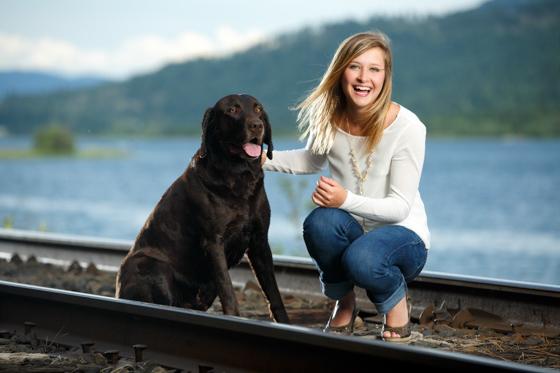 senior portrait with family pet