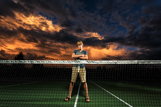 Amazing sunset for this tennis themed senior portrait