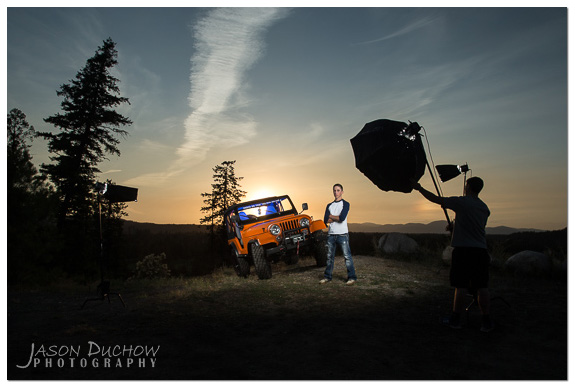 """Behind the scenes"" ""sunset portrait"" strobist"