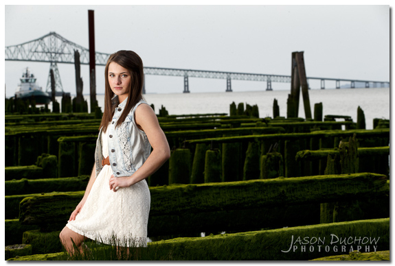 Senior portrait taken near the harbor in Astoria