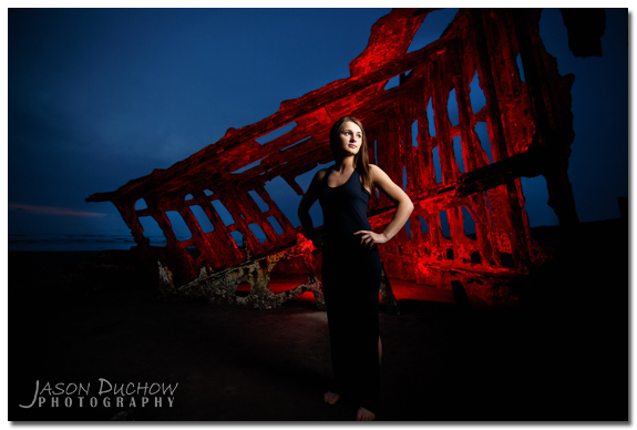 Senior portraits taken at the wreck of the Peter Iredale