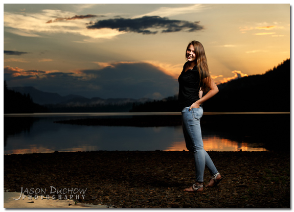 Sunset Senior Portrait taken along the Clark Fork River in Montana